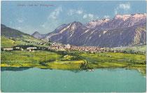 Levico Terme (seit 1860 Kurort) am Lago di Levico, Ger.bzk. Levico, Bzk. Borgo, Gef. Grafsch. Tirol von 1849-1919 (hte. C04 Comunità Alta Valsugana e Bersntol, Prov. di Trento). Photochromdruck 9 x 14 cm; Joh. F. Amonn, Bozen 1911.  Inv.-Nr. vu914pcd00374