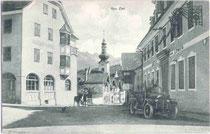 Gasthof ZUM LÖWEN in Zirl, Bezirk Innsbruck-Land; vis à vis Gasthof ZUR POST. Lichtdruck 9x14cm; Wilhelm Stempfle, Innsbruck um 1925.  Inv.-Nr. vu914ld00011