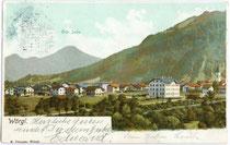 Wörgl mit Krankenhaus gegen Hohe Salve, postalisch gelaufen 1902. Kombinationsfarbdruck 9 x 14 cm; Impressum: R. Plunger, Wörgl.  Inv.-Nr. vu914kfd00005a
