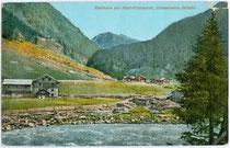 Gasthof ZUR POST – PRAXMARER (heute Haus APART PRAXMARER) an der Venter Ache in Zwieselstein, Gemeinde Sölden im Ötztal um 1910. Photochromdruck 9x14cm; G. Lampe, Innsbruck.  Inv.-Nr. vu914pcd00152