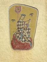 """Sgraffito mit Darstellung von Walther von der Vogelweide mit Bardenharfe am Gasthaus """"Österreichischer Hof"""" in Innsbruck-Wilten, Stafflerstraße 12. Digitalphoto; © Johann G. Mairhofer 2015.  Inv.-Nr. 2DC00942"""