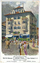 """Hotel Café Restaurant """"Zentral"""" in Bozen, Goethestraße 6 (heute Restaurant Forsterbräu Central). Farblichtdruck 9 x 14 cm nach einem Entwurf von F.A.C.M. Reisch, Meran um 1900.  Inv.-Nr. vu914fld00007"""