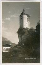 Wallfahrtskirche MARIASTEIN (ehemals Burg STEIN) und Mariansteiner See vor Trockenlegung. Gelatinesilberabzug 9x14cm; Impressum: Verlag O. Kreibich, Schwaz um 1925.  Inv.-Nr. vu914gs00414