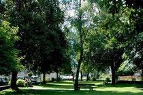 Kurpark im Dorfzentrum von Mitterolang, Gemeinde Olang im Pustertal, Südtirol nach dem großen Dorfbrand von 1904 angelegt worden. Farbdiapositiv 24 x 36 mm; © Johann G. Mairhofer 1998.  Inv-Nr. dc135kn0239.02_37E