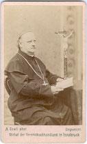 Johann von Leiss zu Laimburg (1821 - 1884)  Diözesanbischof von Brixen. Albuminabzug auf Untersatzkarton 10,6 x 6,6 cm (Visitformat;  Impressum: Anton Gratl, Innsbruck um 1880. Inv.-Nr. vuVIS-00211