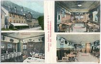 """Gasthaus """"Badhaus"""", bis 1786 Landesfürstl. Fischmeisteramt, dann Dr. Schlechters Badekuranstalt, heute Wohnhaus in Mühlau, Stadt Innsbruck, Anton-Rauch-Str. 30. Farblichtdruck 9 x 14 cm; Impressum: A(lois). Dalus, Hötting um 1910.  Inv.-Nr. vu914fld00040"""