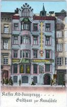 "Café ""ALT-INNSPRUGG"" in Innsbruck, Maria-Theresien-Straße um 1910. Chromolithographie 9x14cm."