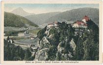 Burg TRAUTSON mit Serles von Südwesten. Farblichtdruck 9x14cm; Stengel & Co., Dresden um 1905.  Inv.-Nr. vu914fld00362