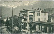 """Villa """"Regina"""" in Obermais, Stadtgemeinde Meran vor dem Umbau zum Hotel. Lichtdruck 9 x 14 cm ohne Impressum, um 1997.  Inv.-Nr. vu914ld00287"""