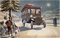 Werbekarte der K(aiserlich). K(öniglichen). Automobilpost (1908). Entwurf sign.: Kauzner. Farbautotypie 9 x 14 cm; Impressum: Verlag Postbeamtenverein, Wien I/1. 1908.  Inv.-Nr. vu914fat00035