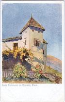 Turm vom Ansitz Liebenrain in Barbian im Eisacktal. Farbautotypie 9 x 14 cm nach Original ohne Signatur. Impressum: Deutscher Schulverein Karte No. 360, um 1910.  Inv.-Nr. vu914fat00004