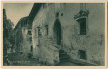 Micheles Haus in Grins, Bezirk Landeck, Tirol. Rastertiefdruck 9 x 14 cm; Impressum: J. Heimhuber, Hofphotograph, Sonthofen, Oberstdorf um 1910.  Inv.-Nr. vu914rtd00038