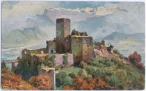 Burg Hocheppan in Missian, Gemeinde Eppan, Südtirol. Farbautotypie 9 x 14 cm; Entwurf: Rudolf Alfred Höger (1877-1930); Verlag Joh(ann). F(ilibert). Amonn, Bozen 1926.  Inv.-Nr. vu914fat00009