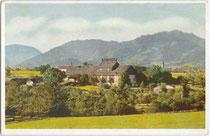 Altes Passionsspielhaus in Erl, Bezirk Kufstein, Tirol (errichtet 1908 bis 1911). Farbautotypie 9 x 14 cm; Eigenverlag des Veranstalters um 1912.  Inv.-Nr. vu914fat00056