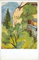 Burg Lengberg in Nikolsdorf, Bezirk Lienz, Tirol. Farbautotypie 9 x 14 cm; Künstlersignatur unbekannt, Impressum: F. Bruckmann, München um 1940.  Inv.-Nr. vu914fat00078a