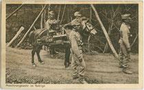 """Transport eines Maschinengewehrs 07/12 (Konstruktion: Andreas Wilh. Schwarzlose) beim K.u.k. Infanterieregiment No. 59 """"(Erzherzog) Rainer"""" X. Marschbataillon M.G.A.  Lichtdruck 9 x 14 cm; Impressum: Joh. F. Amonn, Bozen 1914.  Inv.-Nr. vu914ld00299"""