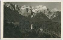 Burg KLAMM in Obsteig mit Mieminger Kette. Gelatinesilberabzug 9 x 14 cm; Impressum: Richard Müller, Innsbruck um 1920.  Inv.-Nr. vu914gs00329