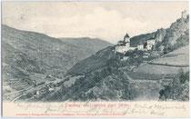 Die TROSTBURG über Waidbruck. Lichtdruck 9x14cm; Aufnahme u. Verlag Eng(elbert). Senoner, Waidbruck um 1900.  Inv.-Nr. vu914ld00072