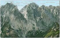 WILDER KAISER vom Kaiserbachtal, Gemeinde Kirchdorf in Tirol aus. Photochromdruck 9 x 14 cm (Bergnamenkarte); ohne Impressum um 1900.  Inv.-Nr. vu914pcd00246