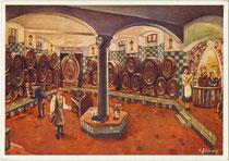 """""""Gruß aus Falkner's Central-Keller"""" im gleichnamigen Kaffeehaus in der Erlerstraße 11, Innsbruck-Innere Stadt. Farbautotypie nach Original von K. Jüling. Impressum: Kifadruck Innsbruck 1925.  Inv.-Nr. vu105fat00033"""