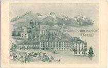 Palais Pfeiffersberg in Innsbruck, Innere Stadt, Sillgasse 8 und die Jesuitenkirche zur Hl. Dreifaltigkeit (v.v.n.h.). Autotypie 9 x 14 cm ohne Impressum um 1905.  Inv.-Nr.  vu914at00006