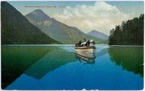 """Dampfboot """"Sabine II"""" (Jungfernfahrt Mai 1909) der Planseeschifffahrt. Photochromdruck 9 x 14 cm; Impressum: Purger & Co. München; postalisch befördert 1921.  Inv.-Nr. vu914pcd00088"""