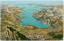 Die Gardaseegemeinden Nago, Torbole (fusioniert zu Nago-Torbole) und Riva auf einem Panoramagemälde. Chromolithographie 9 x 14 cm; Impressum: Wehrli AG, Kilchberg bei Zürich um 1905.  Inv.-Nr. vu914clg00005