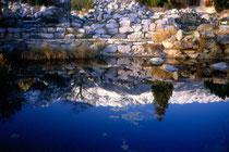 Spiegelung der Nordkette im Teich vom Botanischen Garten der Universität Innsbruck, Sternwartestraße 15. Farbdiapositiv 24 x 36 mm; © Johann G. Mairhofer 1992.  Inv.-Nr. dc135fuRD147.1_34