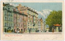 """Hotel """"Kaiserhof"""" in St. Nikolaus, Stadtgemeinde Innsbruck, Innstraße 21. Photochromdruck 9 x 14 cm; Impressum: Act(iengesellschaft). Münchener Chromolith(ographische). Ges(ellschaft). um 1900.  Inv.-Nr. vu914pcd00133"""