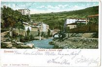 """Castello e Torrente Leno"" (Schloss und Wildbach Leno) in Rovereto. Kombinationsfarbdruck 9x14cm; B. Lehrburger & Co., Nürnberg um 1900.  Inv.-Nr. vu914kfd00027"