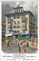 Hotel Café Restaurant ZENTRAL in Bozen, Goethestraße 6.(heute Restaurant Forsterbräu Central). Farblichtdruck 9 x 14 cm; Entwurf: Franz A.C.M. Reisch, Meran um 1900.  Inv.-Nr. vu914fld00007