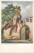 Ansitz Gleifheim in Piegenò, St. Michael-Eppan, seit 1807 im Besitz der Barone von Hohenbühel genannt Heufler zu Rasen. Farbautotypie 9 x 14 cm nach Original eines anonymen Künstlers; Impressum: Dt. Schulverein um 1910.  Inv.-Nr. vu914fat00137