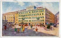 """Grand Hotel """"de l'Europe"""" in Innsbruck, Südtiroler Platz 2. Farbautotypie 9 x 14 cm nach einem Original eines anonymen Künstlers. Impressum: Wagner'sche Univ.-Buchdruckerei, Innsbruck um 1925.  Inv.-Nr. vu914fat00016"""