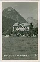 """Hotel """"Post"""" in Pertisau am Achensee, Gemeinde Eben, Bezirk Schwaz, Tirol. Gelatinesilberabzug 9 x 14 cm; Impressum: Georg Angerer, Schwaz um 1935.  Inv.-Nr. vu914gs00713"""