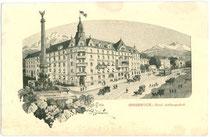 "Hotel ""Arlbergerhof"" (heute Wohn- und Geschäftshaus), Salurner Straße 1 mit Hauptportal zum Bahnhofplatz (heute: Südtiroler Platz). Entwurf: R. Preuss, Innsbruck um 1925. Inv.-Nr. vu105fat00007"
