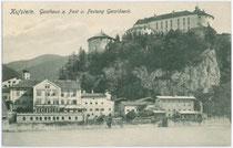 Gasthof ZUR POST in Kustein, Römergasse um 1910. Lichtdruck 9x14cm; Verlagsangaben in Arbeit.  Inv.-Nr. vu914ld00059