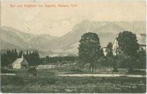 Gut und Bräuhaus zur St.-Anna-Kapelle in Kössen, Bezirk Kitzbühel, Tirol. Lichtdruck 9 x 14 cm ohne Impressum, postalisch befördert 1913.  Inv.-Nr. vu914ld00249
