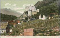 Weingüter bei der Burg Kastelbell in der Gemeinde Kastelbell-Tschars im Vinschgau, Südtirol. Farblichtdruck 9 x 14 cm; Impressum: Joh(ann). F(ilibert). Amonn, Bozen 1906.  Inv.-Nr. vu914fld00024