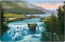 Der Innfall beim St. Moritzersee im Oberengadin. Photochromdruck 9x14cm; Impressum: Edition Photoglob Zürich um 1910.  Inv.-Nr. vu914pcd00216