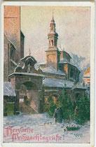 Christbaummarkt am Oberen Stadtplatz in Hall in Tirol. Farbautotypie 9 x 14 cm nach einem Original von Rudolf Kargl (1878-1942). Impressum: Ostmark, Bund deutscher Österreicher, Linz um 1910.  Inv.-Nr. vu914fat00102