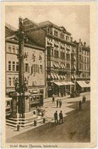 """Hotel """"Maria Theresia"""", seit dessen Schließung ein Gebäudeteil vom Kaufhaus """"Tyrol"""" in der Maria-Theresien-Straße 33, Innsbruck-Innere Stadt. Lichtdruck 9 x 14 cm; Impressum: K(arl.) Redlich, Innsbruck um 1925.  Inv.-Nr. vu914ld00280"""