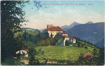 Burg Freudenstein, Matschatscher Straße in St. Michael, Gemeinde Eppan. Photochromdruck 9 x 14 cm; Joh(ann). F(ilibert). Amonn, Bozen 1911.  Inv.-Nr. vu914clg00105