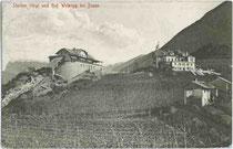 Bergstation der Virglbahn und Hotel WEINEGG auf dem Virgl. Lichtdruck 9x14cm; Joh(ann). F(ilibert). Amonn, Bozen um 1910.  Inv.-Nr. vu914ld00103