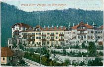 """Grand Hotel """"PENEGAL"""", Hotelkolonie am Mendelpass, Ruffrè im Nonstal, Trentino (damals Ortsteil von Kaltern). Photochromdruck 9x14cm; Joh(ann). F(ilibert). Amonn, Bozen; postalisch gelaufen 1907.  Inv.-Nr. vu914pcd00139"""