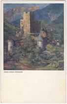 Burg Landeck. Farbautotypie 9 x 14 cm; Entwurf ohne Künstlersignatur, Impressum: Buchdruckerei Tyrolia, Innsbruck um 1910.  Inv.-Nr. vu914fat00049