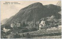 Pension Ansitz Liebenburg in Pigenò 26, Fraktion St. Michael, Gemeinde Eppan. Gelatinesilberabzug 9 x 14 cm; Impressum: Lorenz Fränzl, Bozen, postalisch befördert 1937.  Inv.-Nr. vu914gs00122