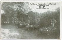 """Kufsteiner Heldengräber bei Rovereto zu Allerseelen 1916. Autotypie 9 x 14cm; Impressum: Buchdruckerei """"Tyrolia"""", Innsbruck 1916.  Inv.-Nr. vu914at00012"""