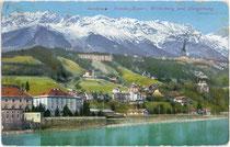 """St. Nikolaus (Stadtgemeinde Innsbruck), dahinter das Gebiet der ehemaligen Gemeinde Hötting mit Pension """"Kayser"""" und Hungerburg. Impressum: Impressum: Wilhelm Stempfle, Innsbruck um 1910.  Inv.-Nr. vu914pcd00192"""