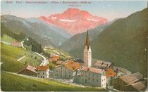 Die Civetta (3.220m m.s.l.m.) in der Civetta-Moizza-Gruppe der Dolomiten von Fodom (ital. Livinallongo del Col di Lana, dt. Buchenstein) aus. Photochromdruck 9 x 14 cm; Impressum: Edition Photoglob Zürich um 1910. Inv.-Nr. vu914pcd00263
