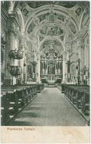"""Inneres der Pfarrkirche zum Hl. Johannes Bapt. in Toblach, Südtirol. Lichtdruck 9 x 14 cm; Impressum: """"Photogr. C. Z."""" um 1905.  Inv.-Nr. vu914ld00156"""